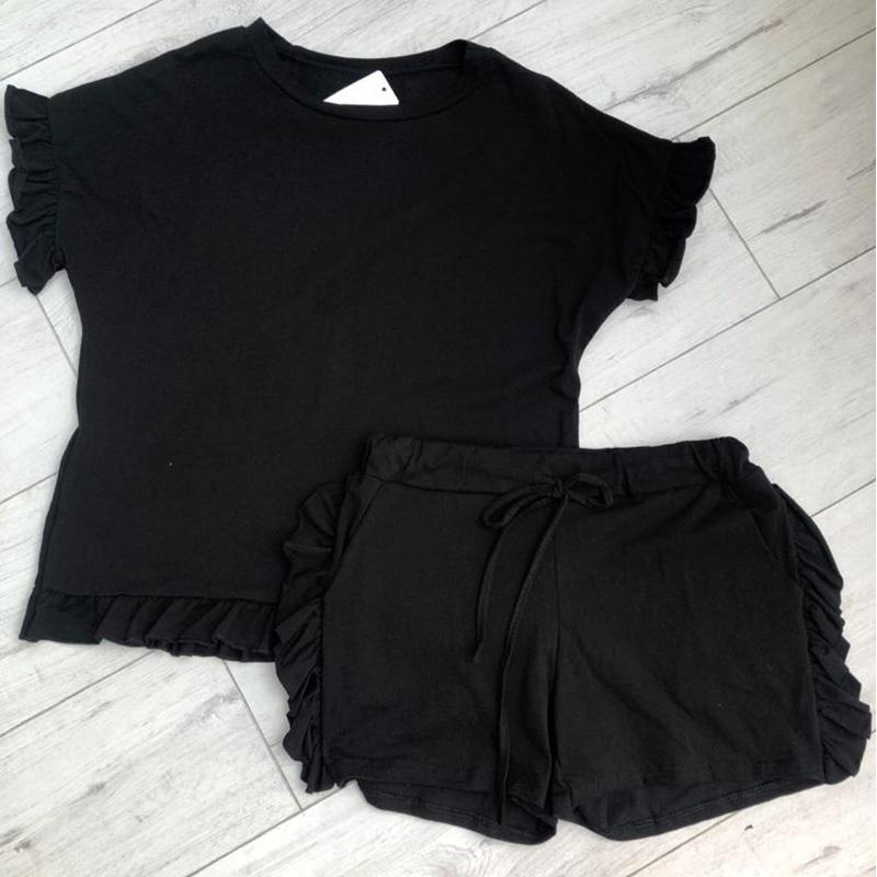 Black Ruffle Short Set