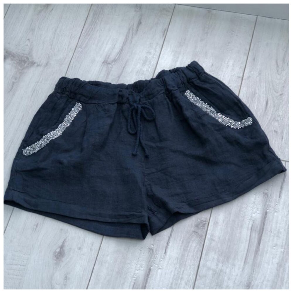 Navy Sparkle Pocket Linen Shorts