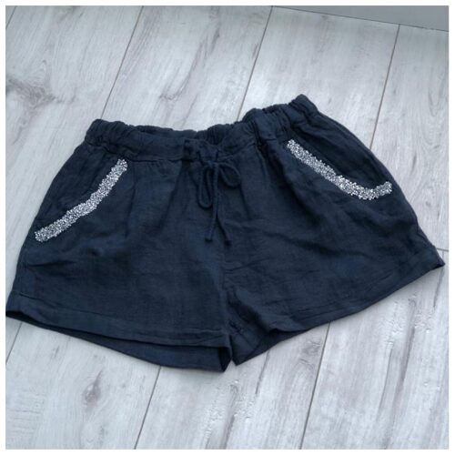 Navy Sparkle Pocket Linen Shorts