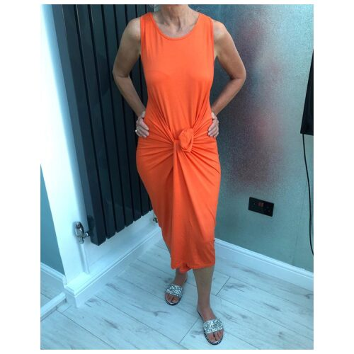Orange Oversized Drape Dress