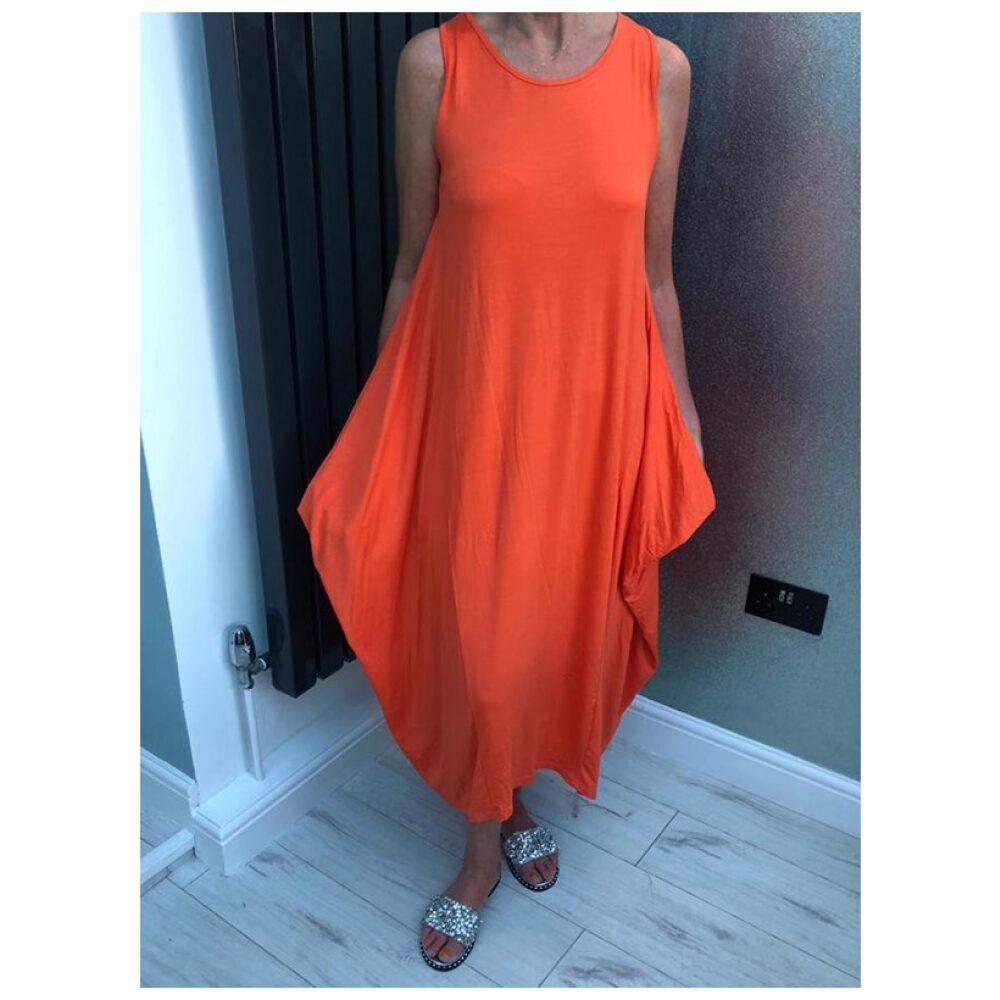 Orange Oversized Drape Dress