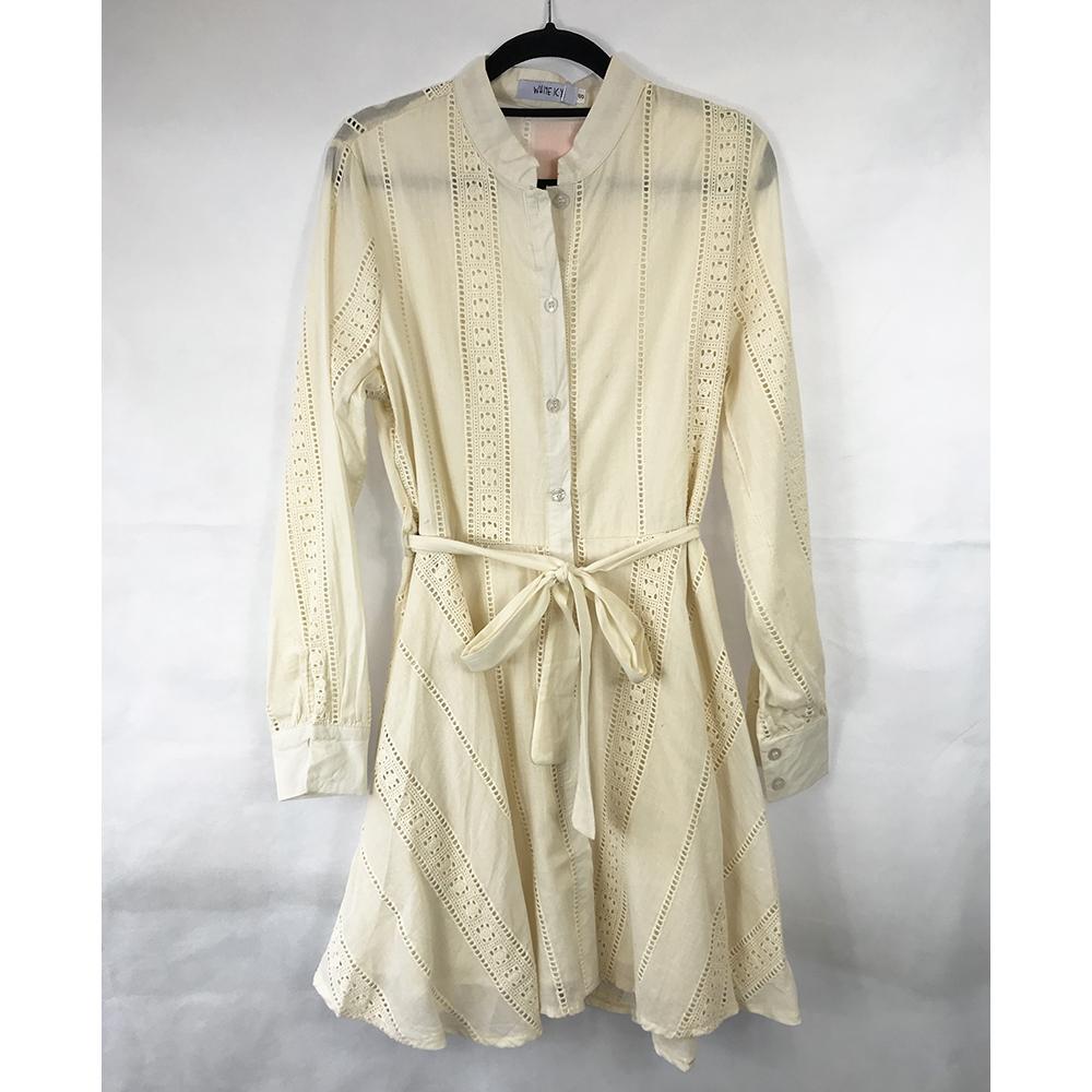 Beige Embroidered Tie Waist Dress