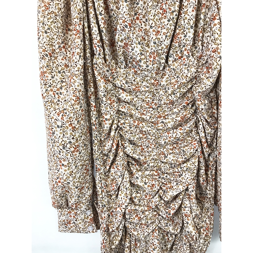 Beige Ruched Body Floral Dress