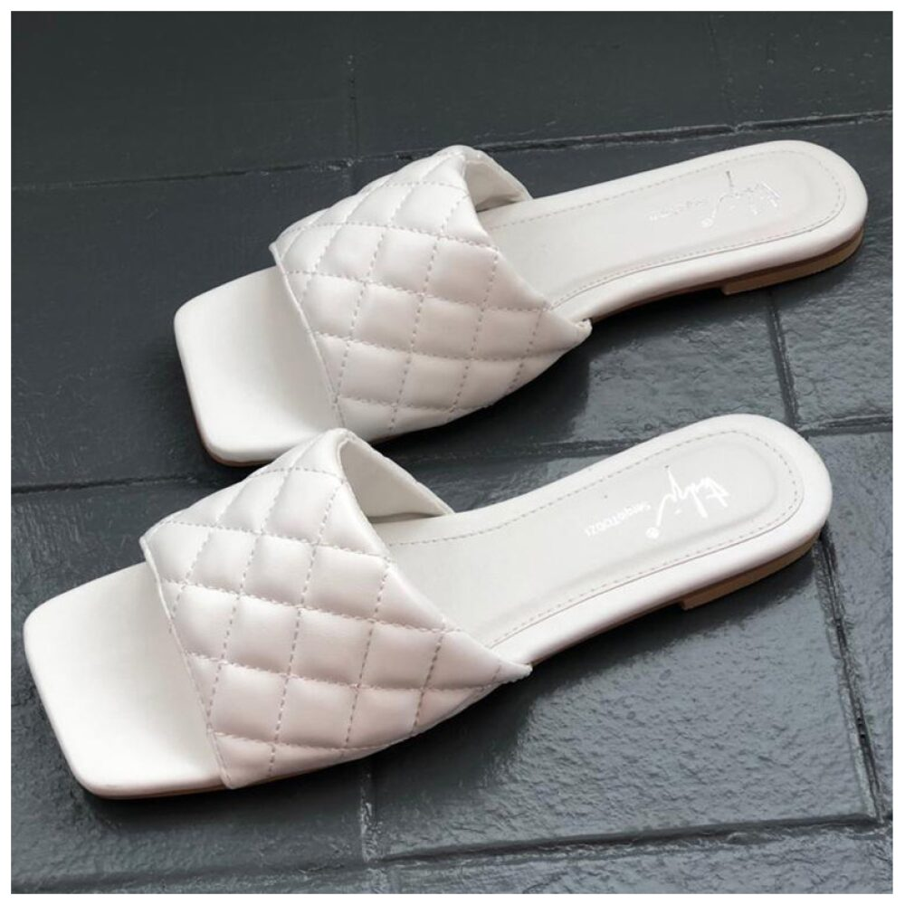 White Square Toe Sandal
