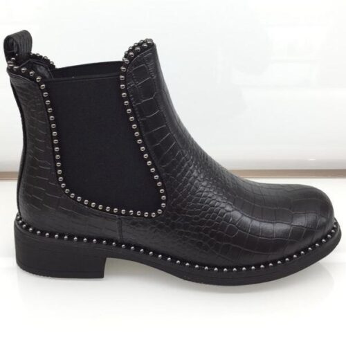 Studded Croc Effect Chelsea Boot