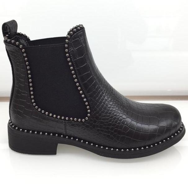 Studded Croc Effect Chelsea Boot