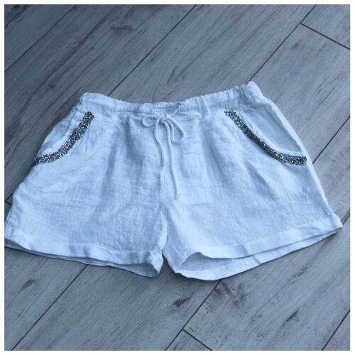 White Sparkle Pocket Linen Shorts