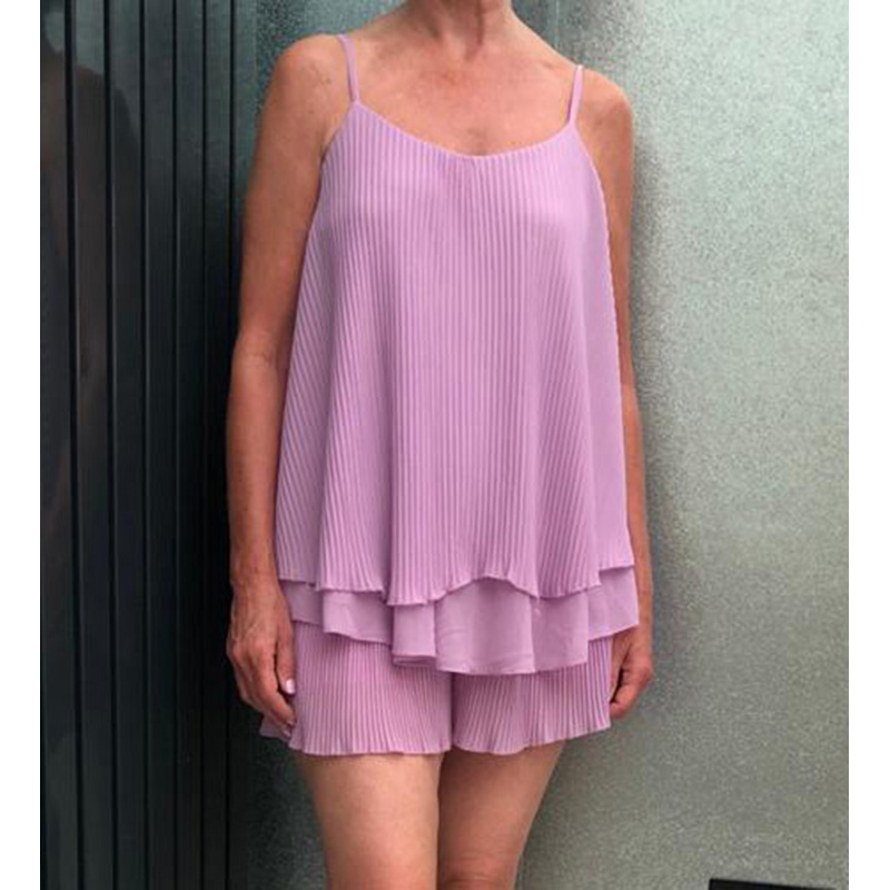 Lilac Pleated Cami Short Set