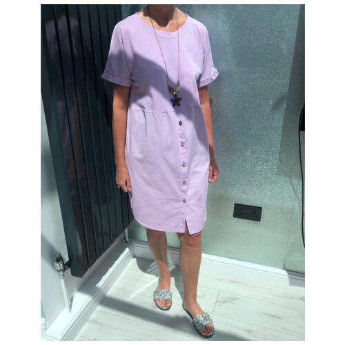 Lilac Button Front Dress