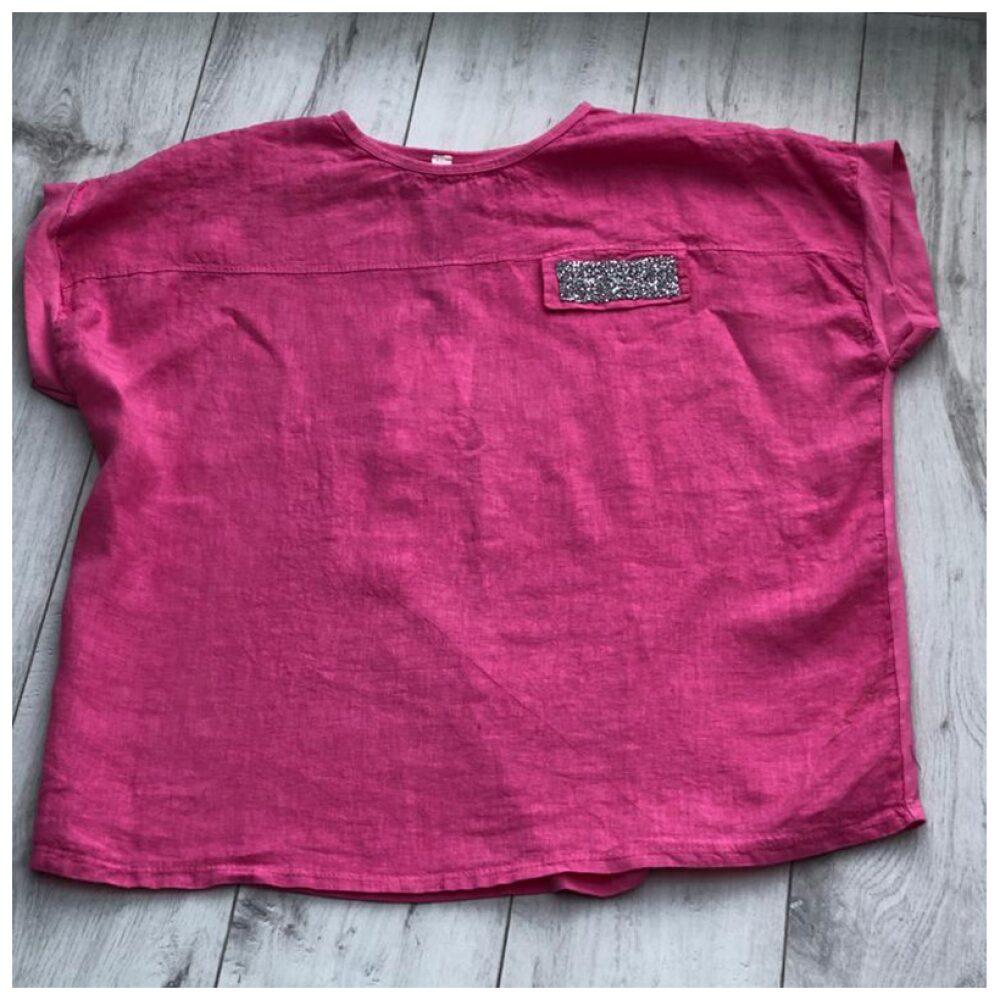 Pink Sparkle Pocket Linen Top