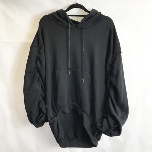 Black Ruched Sleeve Hoody