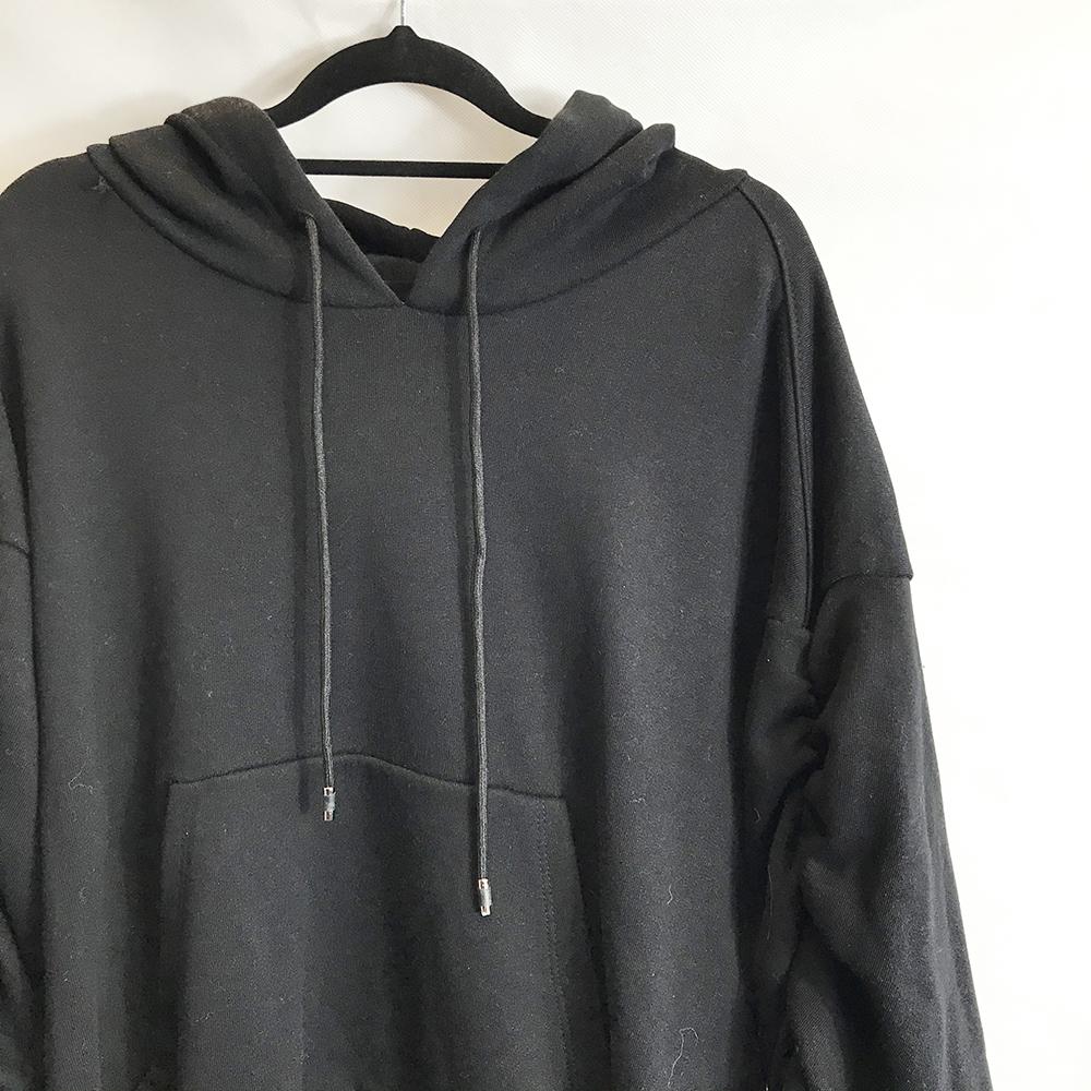 Black Ruched Sleeve Hoody