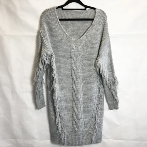 Grey Fringed Detailing Longline Jumper Dress