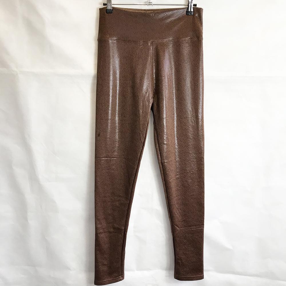 Brown Textured Wet Look Leggings
