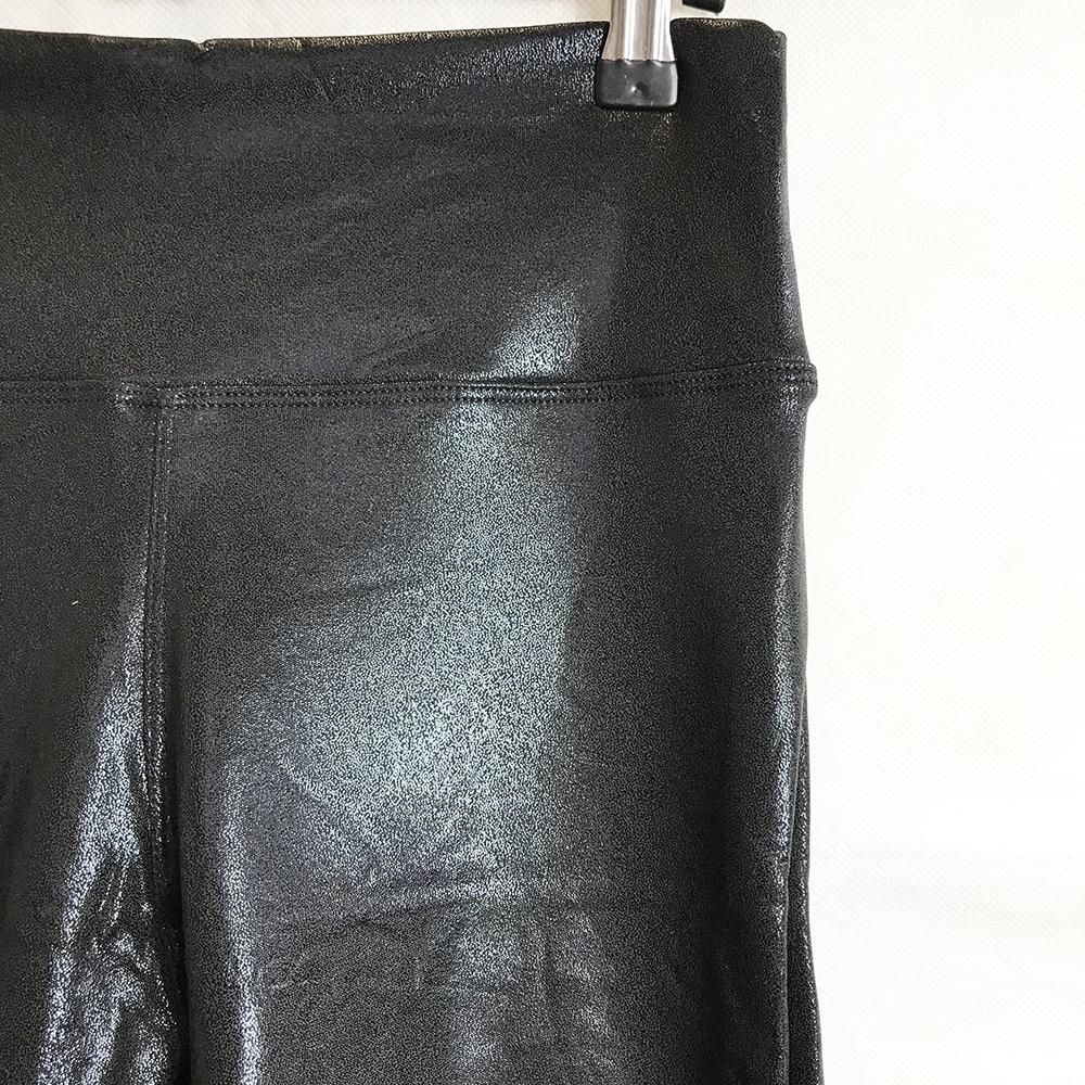 Black Textured Wet Look Leggings