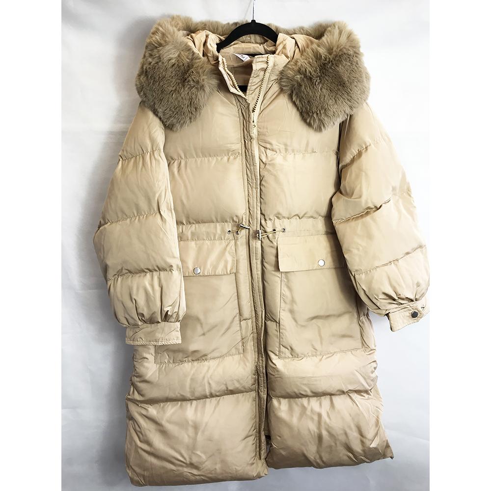 Beige Longline Puffer Coat
