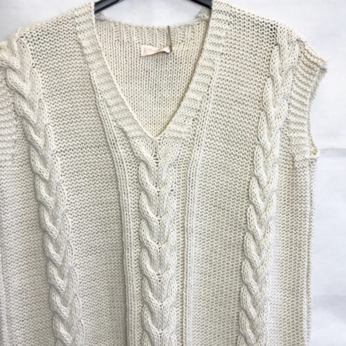 Beige Cable Knit Tank Top