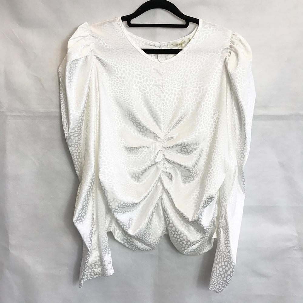 White Animal Print Silk Style Blouse