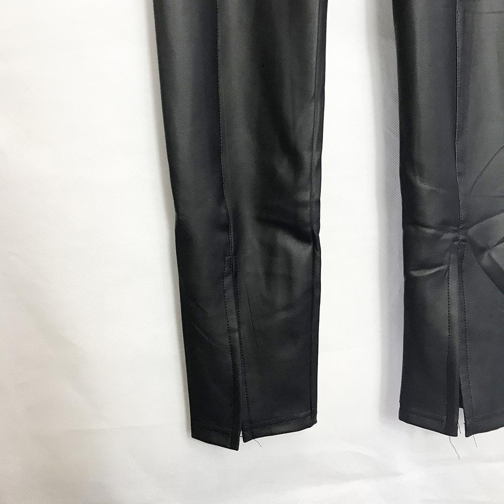 Front Split Wet Look Leggings