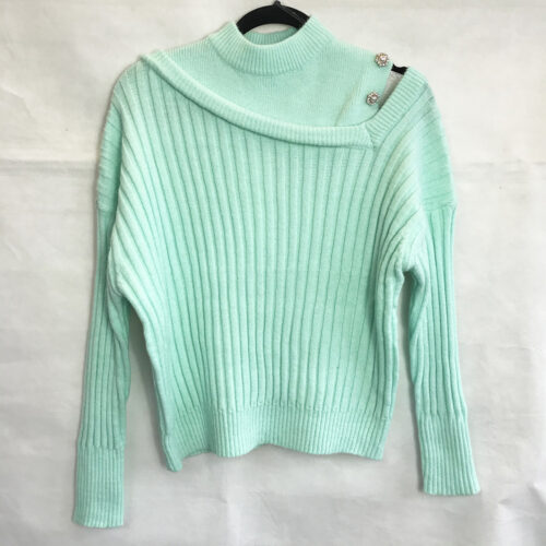 Mint Pearl Asymmetric Sleeve Jumper
