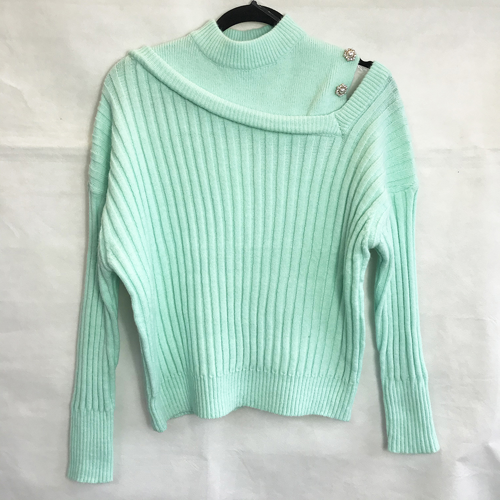 Mint Pearl Asymmetric Sleeve Jumper