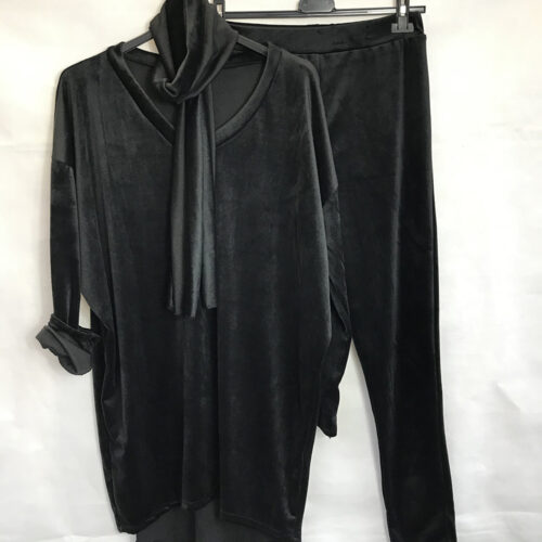Black Velvet Look Scarf and Jumper Set