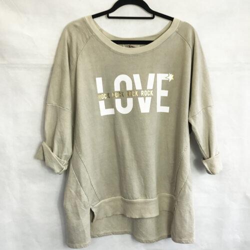 Beige Love Oversized Sweatshirt