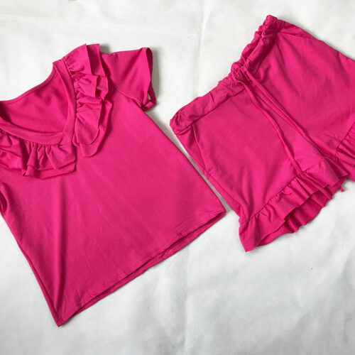 Cerise Frill Neck Short Set