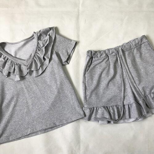 Grey Frill Neck Short Set