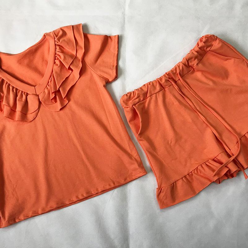 Orange Frill Neck Short Set