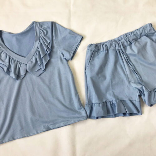 Blue Frill Neck Short Set