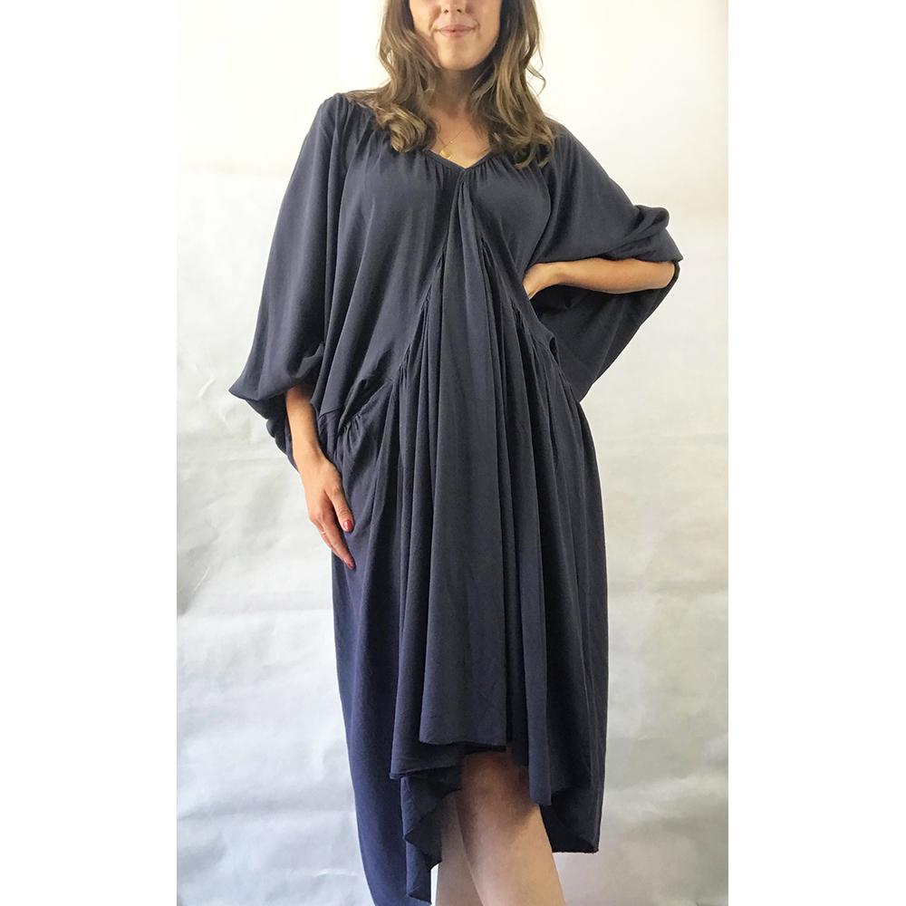 Navy Batwing Sleeve Dress