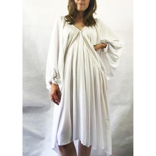 White Batwing Sleeve Dress