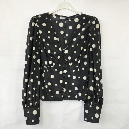 Black Button Front Polka Dot Blouse