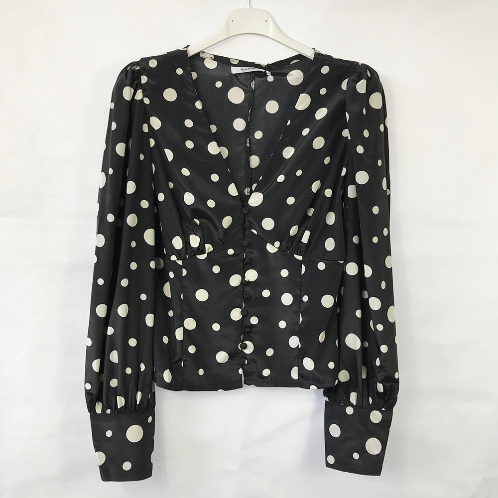 Black Button Front Polka Dot Blouse