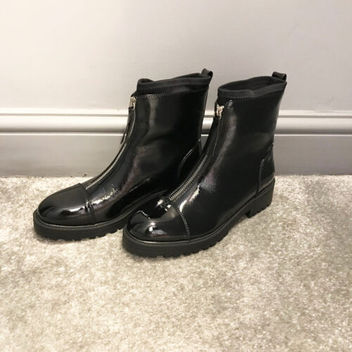 Zip Front Leather Look Boot