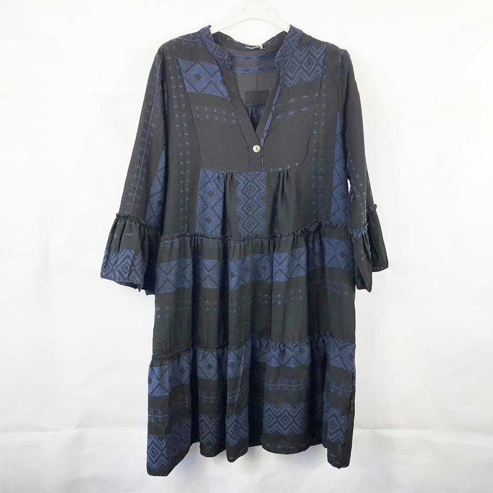 Blue Button Front Aztec Smock Dress
