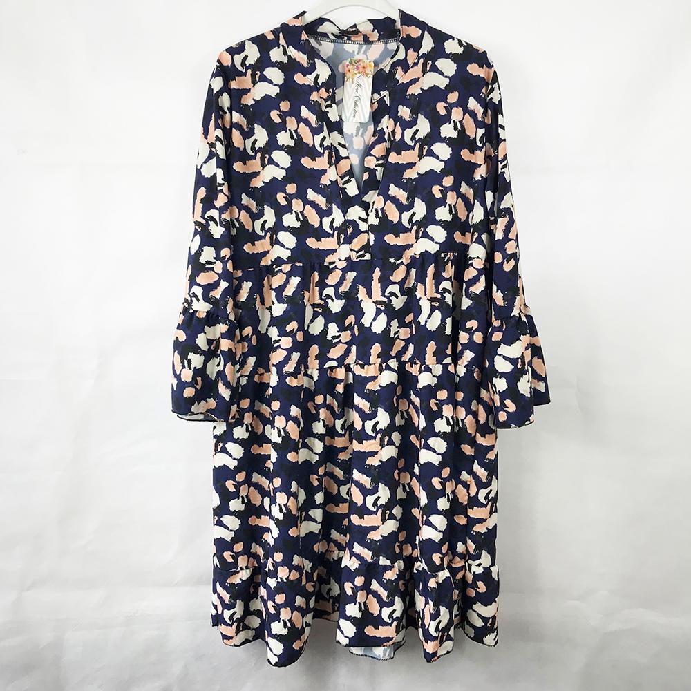Navy Animal Print Smock Dress