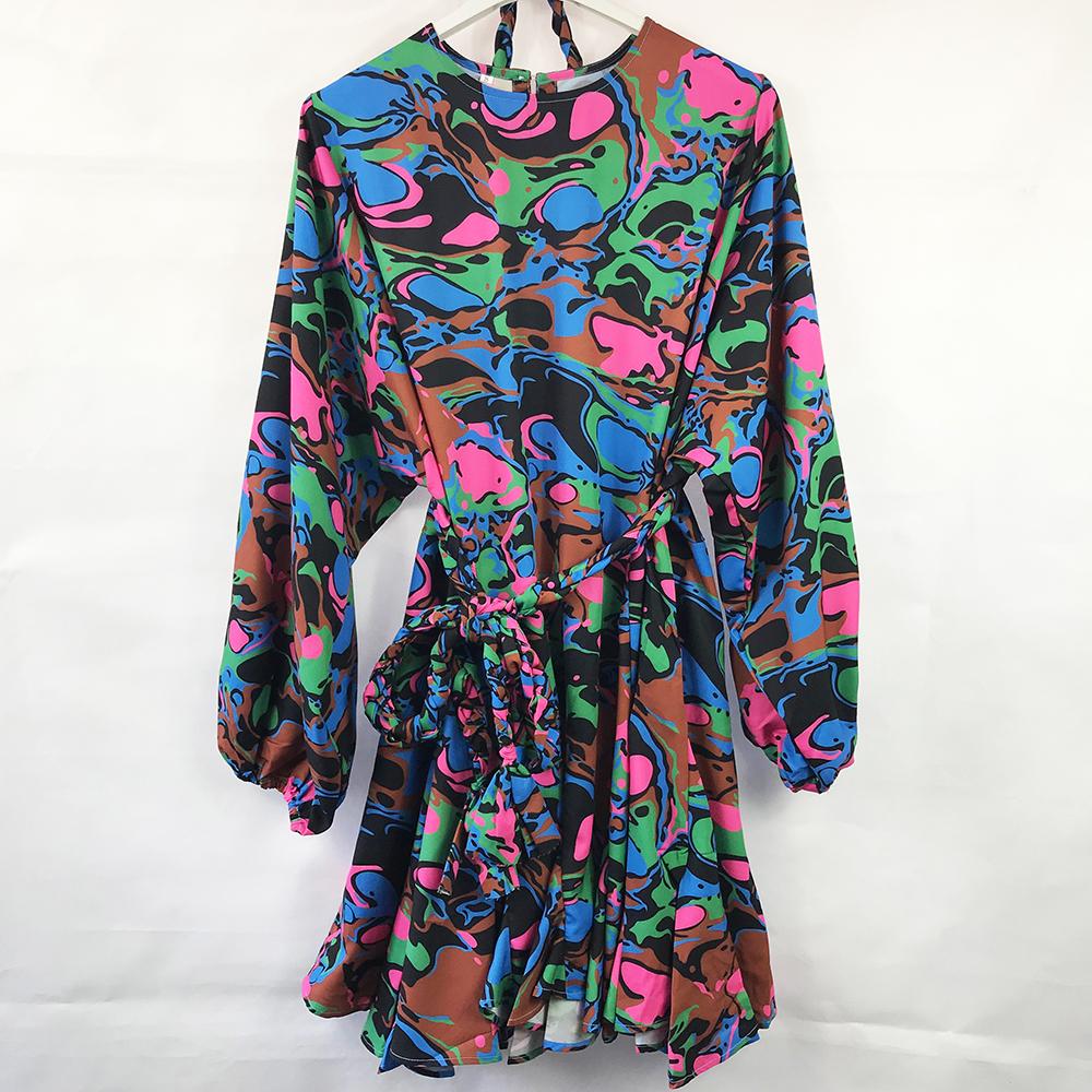 Abstract Print Swing Dress