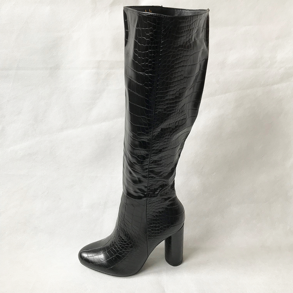 Black Croc Knee High Boots