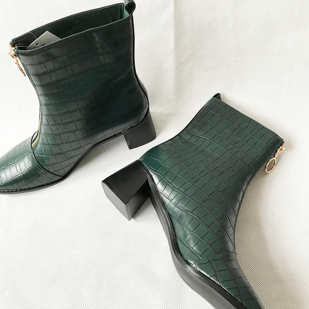 Green Croc Zip Front Boots