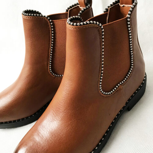 Tan Studded Ankle Boot