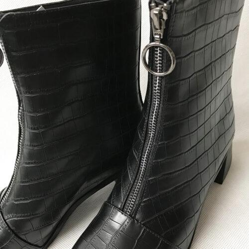 Black Croc Zip Front Boots