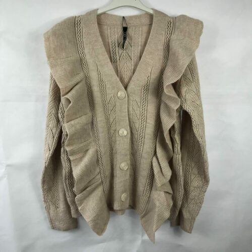 Beige Frill Detailing Cardigan