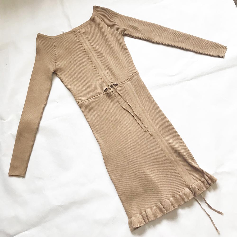 Beige Ruched Detailing Mini Dress