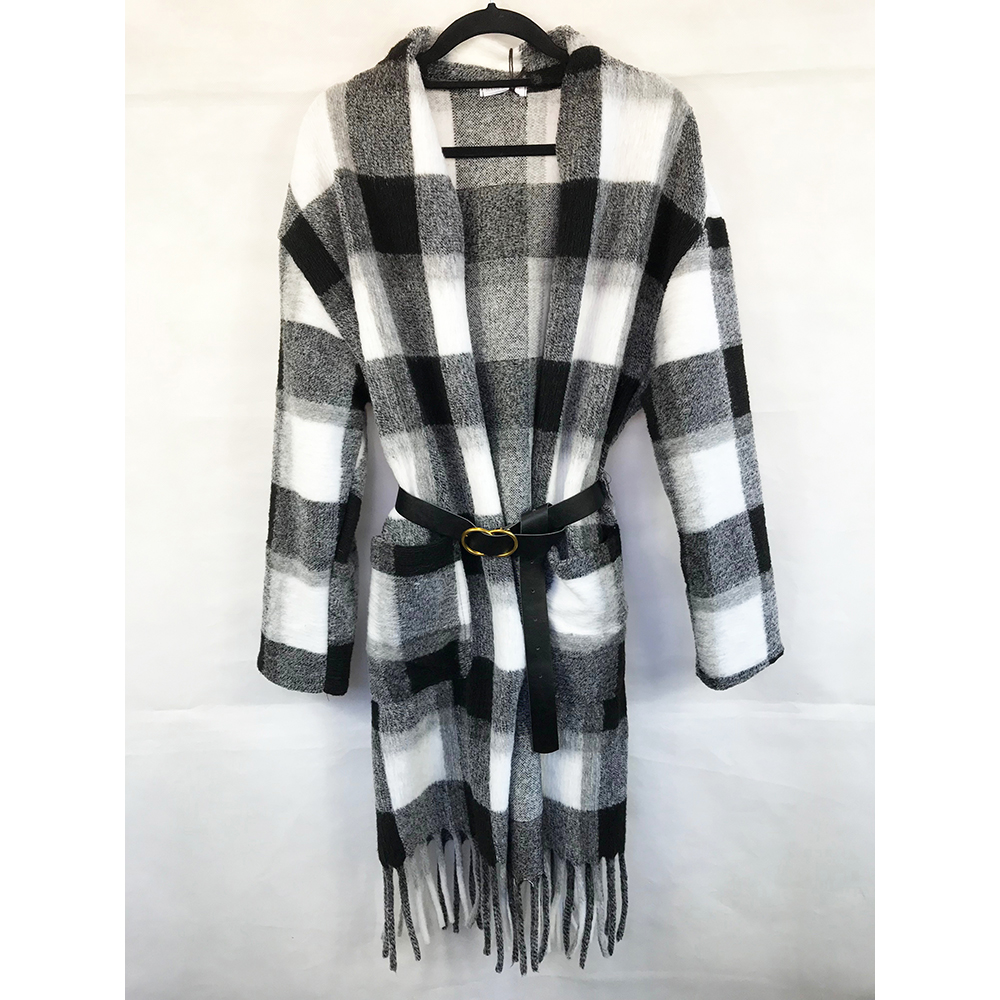 Longline Checked Coat with Belt