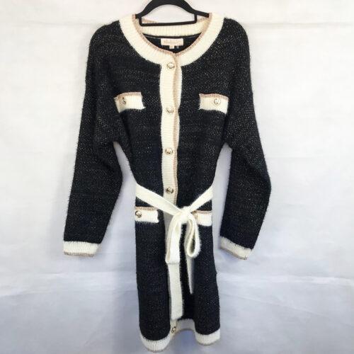 Tie Belt Button Front Jumper Dress