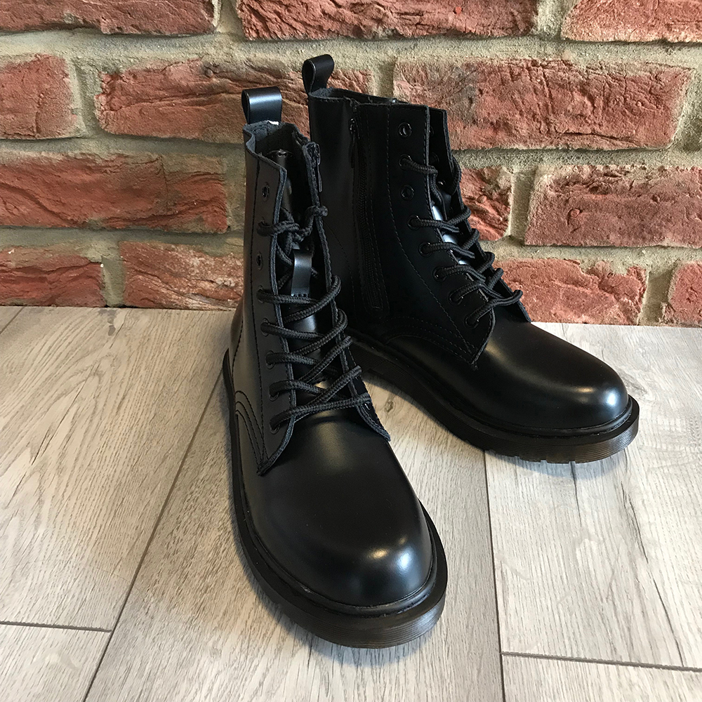 Leather Style Flat Ankle Boots