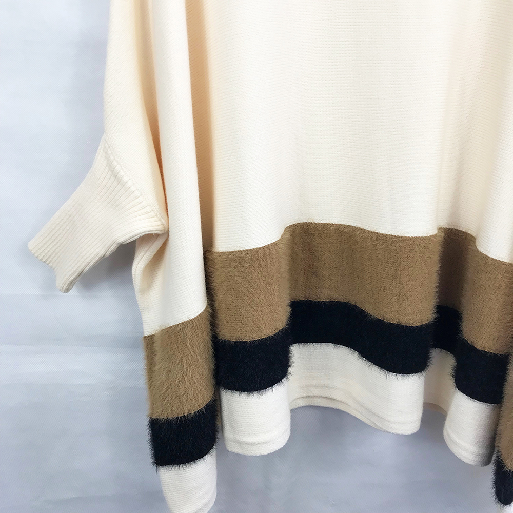 Poncho Style Stripe Jumper