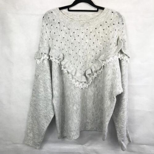Grey Lace Detailing Jumper